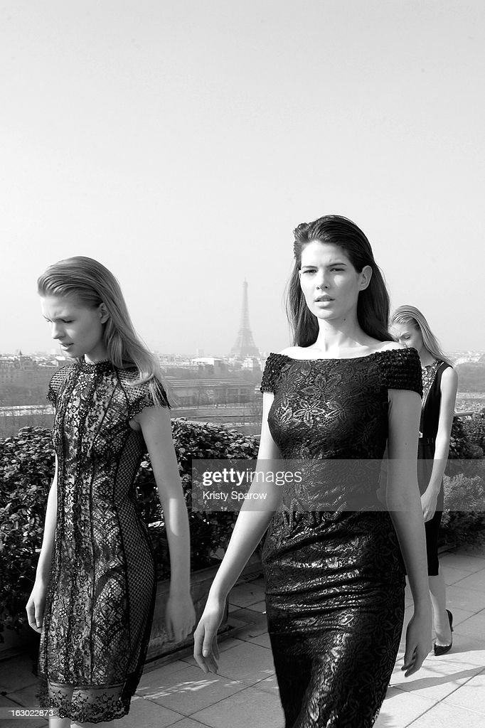 Models are seen backstage after the Collette Dinnigan 2013/14 Ready-to-Wear show as part of Paris Fashion Week at Le Meurice on March 3, 2013 in Paris, France.