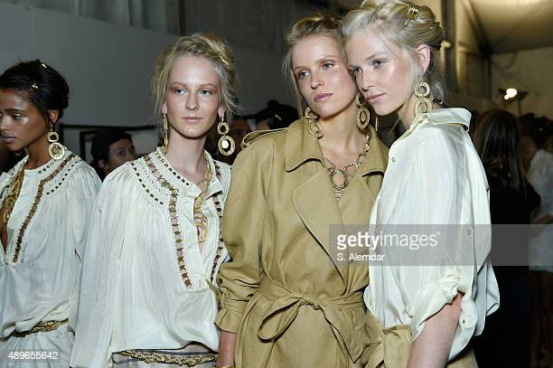Models are seen backstage ahead of the Alberta Ferretti show during Milan Fashion Week Spring/Summer 2016 on September 23 2015 in Milan Italy