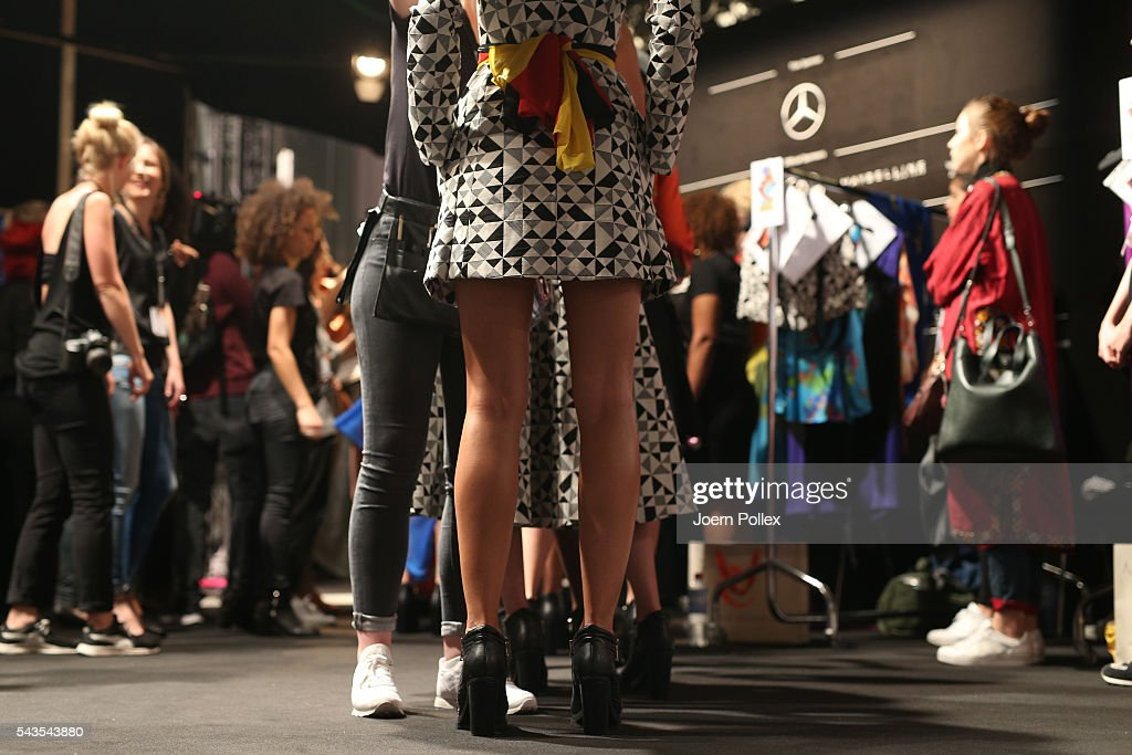 Models are seen backstage ahead of the Anja Gockel show during the Mercedes-Benz Fashion Week Berlin Spring/Summer 2017 at Erika Hess Eisstadion on June 29, 2016 in Berlin, Germany.