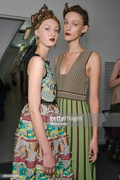 Models are seen backstage ahead of the Antonio Marras show during Milan Fashion Week Spring/Summer 2016 on September 26 2015 in Milan Italy