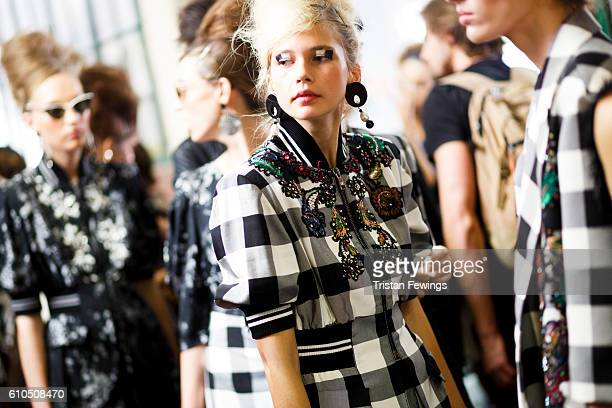 Models are seen backstage ahead of the Antonio Marras show during Milan Fashion Week Spring/Summer 2017 on September 24 2016 in Milan Italy