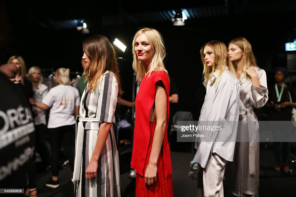 Models are seen backstage ahead of the Avelon show during the Mercedes-Benz Fashion Week Berlin Spring/Summer 2017 at Erika Hess Eisstadion on June 28, 2016 in Berlin, Germany.