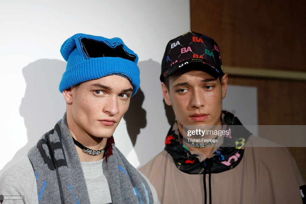 Models are seen backstage ahead of the Bobby Abley show during London Fashion Week Men's January 2017 collections at BFC Show Space on January 6, 2017 in London, England.