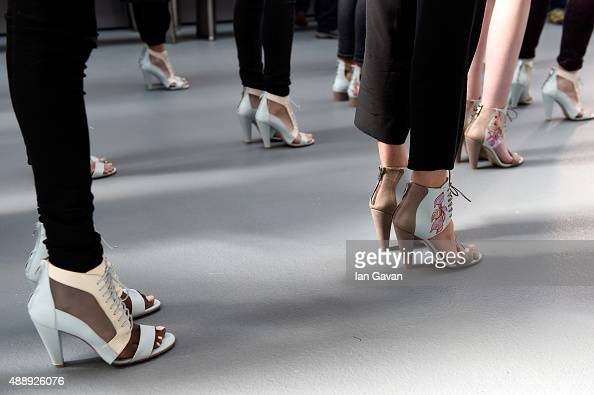 Models are seen backstage ahead of the Bora Aksu show during London Fashion Week Spring/Summer 2016 on September 18 2015 in London England