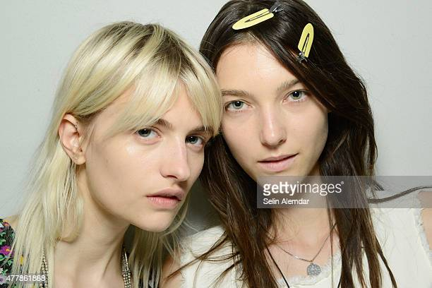 Models are seen backstage ahead of the Costume National Homme show during the Milan Men's Fashion Week Spring/Summer 2016 on June 20 2015 in Milan...