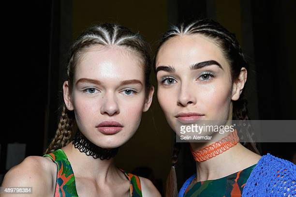 Models are seen backstage ahead of the Cristiano Burani show during Milan Fashion Week Spring/Summer 2016 on September 24 2015 in Milan Italy