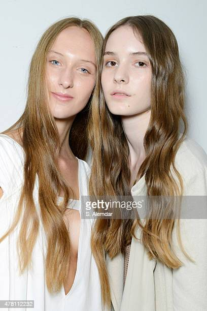 Models are seen backstage ahead of the Damir Doma show during the Milan Men's Fashion Week Spring/Summer 2016 on June 22 2015 in Milan Italy
