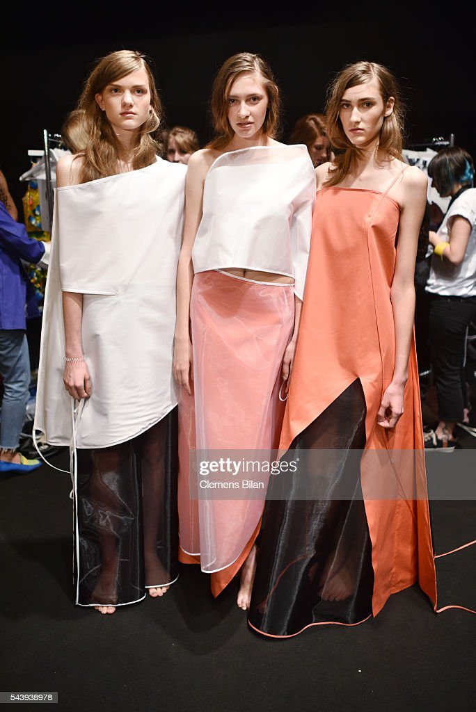 Models are seen backstage ahead of the 'Designer for Tomorrow' show during the Mercedes-Benz Fashion Week Berlin Spring/Summer 2017 at Erika Hess Eisstadion on June 30, 2016 in Berlin, Germany.