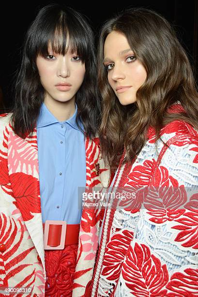 Models are seen backstage ahead of the Ermanno Scervino show during Milan Fashion Week Spring/Summer 2016 on September 26 2015 in Milan Italy