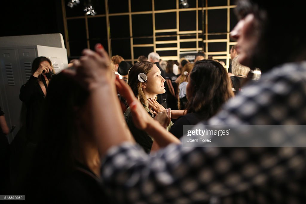 Models are seen backstage ahead of the Ewa Herzog show during the Mercedes-Benz Fashion Week Berlin Spring/Summer 2017 at Erika Hess Eisstadion on June 28, 2016 in Berlin, Germany.