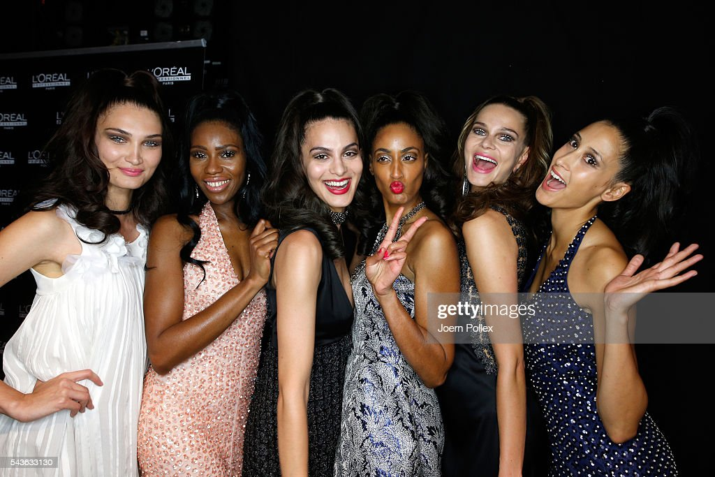 Models are seen backstage ahead of the Guido Maria Kretschmer show during the Mercedes-Benz Fashion Week Berlin Spring/Summer 2017 at Erika Hess Eisstadion on June 29, 2016 in Berlin, Germany.