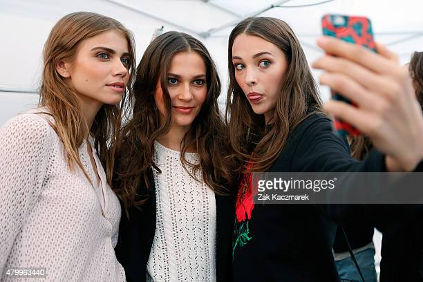 Models are seen backstage ahead of the Holy Ghost show during the MercedesBenz Fashion Week Berlin Spring/Summer 2016 at on July 8 2015 in Berlin...