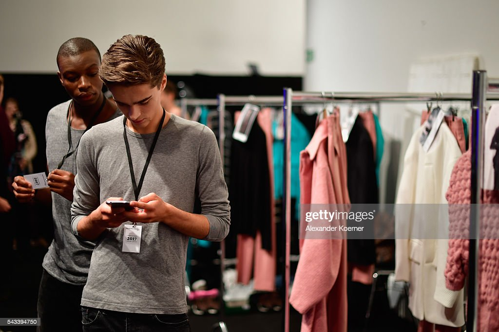 Models are seen backstage ahead of the Ivanman show during the Mercedes-Benz Fashion Week Berlin Spring/Summer 2017 at Stage at me Collectors Room on June 28, 2016 in Berlin, Germany.