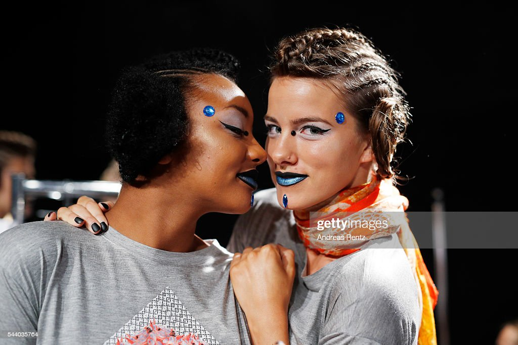 Models are seen backstage ahead of the Jeans For Refugees By Johny Dar show during the Mercedes-Benz Fashion Week Berlin Spring/Summer 2017 at Erika Hess Eisstadion on July 1, 2016 in Berlin, Germany.
