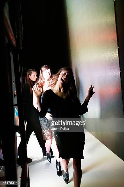 Models are seen backstage ahead of the Laurel show during the MercedesBenz Fashion Week Berlin Autumn/Winter 2015/16 at Brandenburg Gate on January...