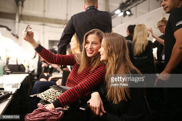 Models are seen backstage ahead of the Laurel show during the MercedesBenz Fashion Week Berlin Autumn/Winter 2016 at Brandenburg Gate on January 20...