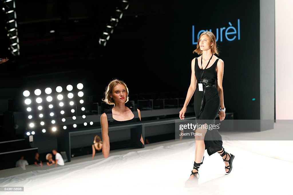 Models are seen backstage ahead of the Laurel show during the Mercedes-Benz Fashion Week Berlin Spring/Summer 2017 at Erika Hess Eisstadion on June 29, 2016 in Berlin, Germany.