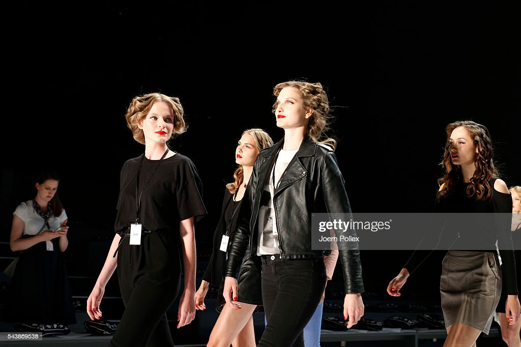 Models are seen backstage ahead of the Lena Hoschek show during the Mercedes-Benz Fashion Week Berlin Spring/Summer 2017 at Erika Hess Eisstadion on June 30, 2016 in Berlin, Germany.