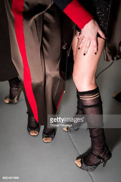 Models are seen backstage ahead of the Les Copains show during Milan Fashion Week Fall/Winter 2017/18 on February 23 2017 in Milan Italy