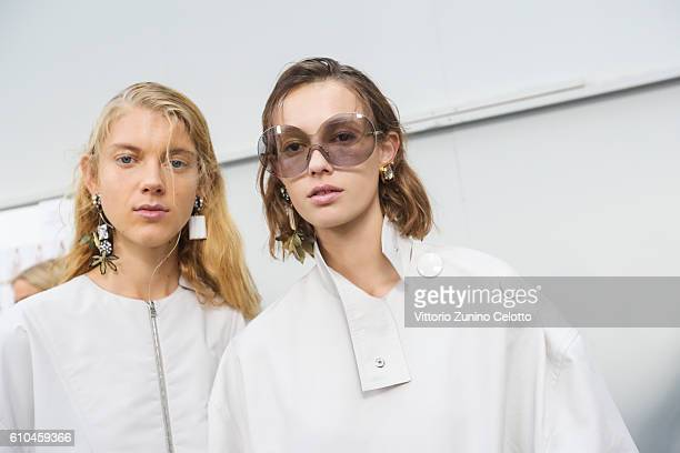 Models are seen backstage ahead of the Marni show during Milan Fashion Week Spring/Summer 2017 on September 25 2016 in Milan Italy