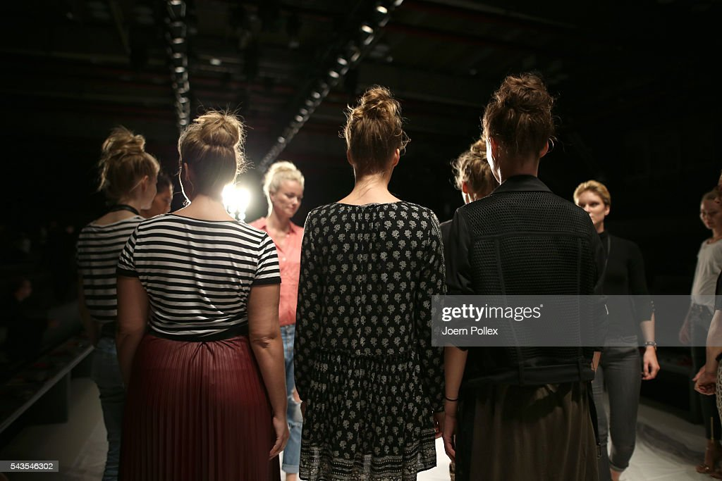 Models are seen backstage ahead of the Minx by Eva Lutz show during the Mercedes-Benz Fashion Week Berlin Spring/Summer 2017 at Erika Hess Eisstadion on June 29, 2016 in Berlin, Germany.