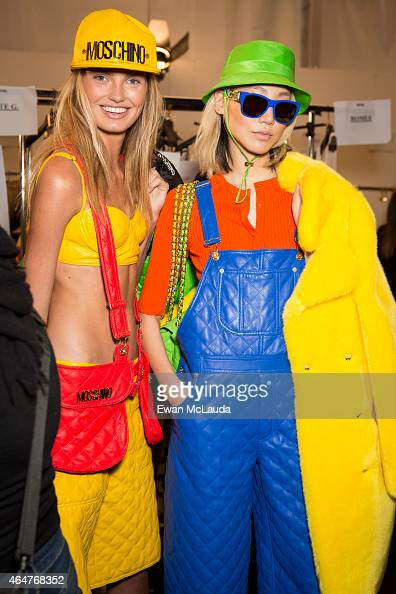 Models are seen backstage ahead of the Moschino show during the Milan Fashion Week Autumn/Winter 2015 on February 26 2015 in Milan Italy