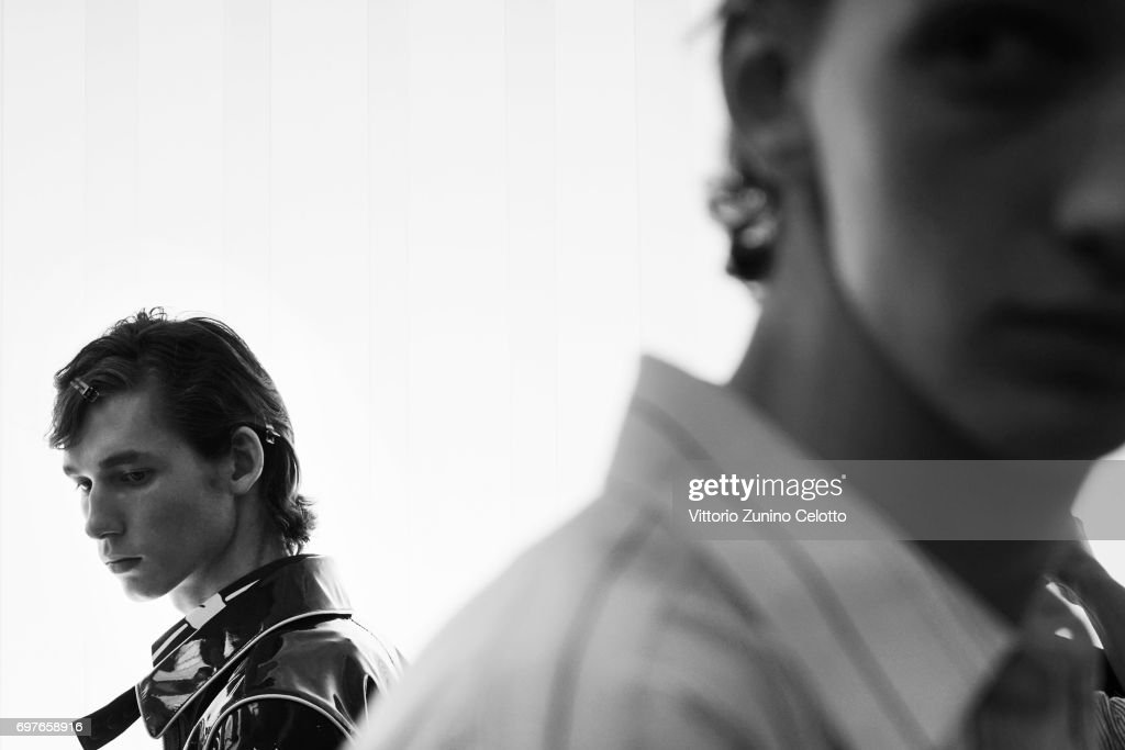 Models are seen backstage ahead of the N.21 show during Milan Men's Fashion Week Spring/Summer 2018on June 19, 2017 in Milan, Italy.