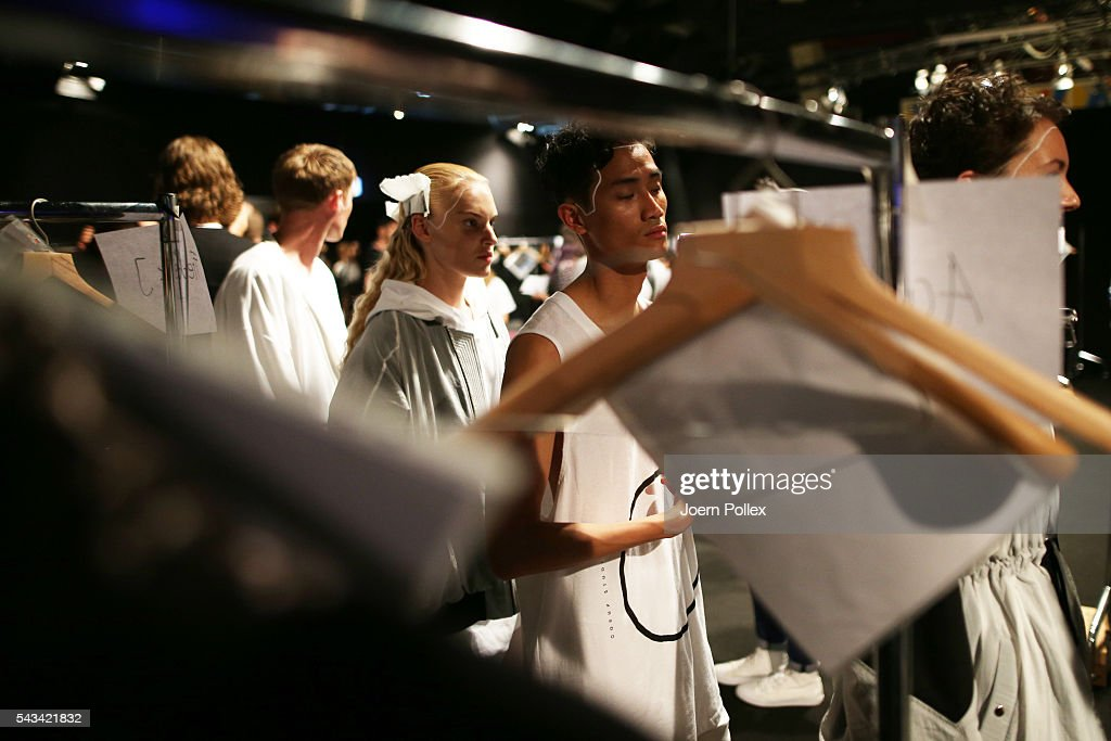 Models are seen backstage ahead of the Odeur show during the Mercedes-Benz Fashion Week Berlin Spring/Summer 2017 at Erika Hess Eisstadion on June 28, 2016 in Berlin, Germany.