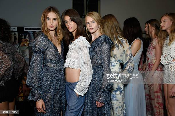 Models are seen backstage ahead of the Philosophy di Lorenzo Serafini show during Milan Fashion Week Spring/Summer 2016 on September 25 2015 in Milan...