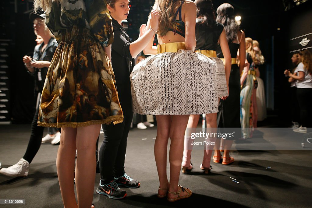 Models are seen backstage ahead of the Rebekka Ruetz show during the Mercedes-Benz Fashion Week Berlin Spring/Summer 2017 at Erika Hess Eisstadion on June 29, 2016 in Berlin, Germany.