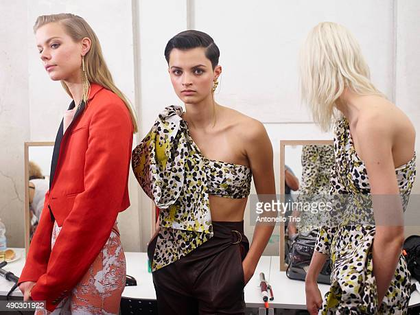 Models are seen backstage ahead of the Roberto Cavalli show during Milan Fashion Week Spring/Summer 2016 on September 26 2015 in Milan Italy