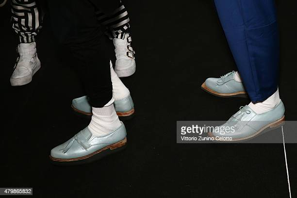 Models are seen backstage ahead of the Sadak show during the MercedesBenz Fashion Week Berlin Spring/Summer 2016 at Brandenburg Gate on July 8 2015...