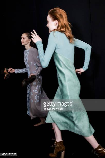Models are seen backstage ahead of the Salvatore Ferragamo show during Milan Fashion Week Fall/Winter 2017/18 on February 26 2017 in Milan Italy