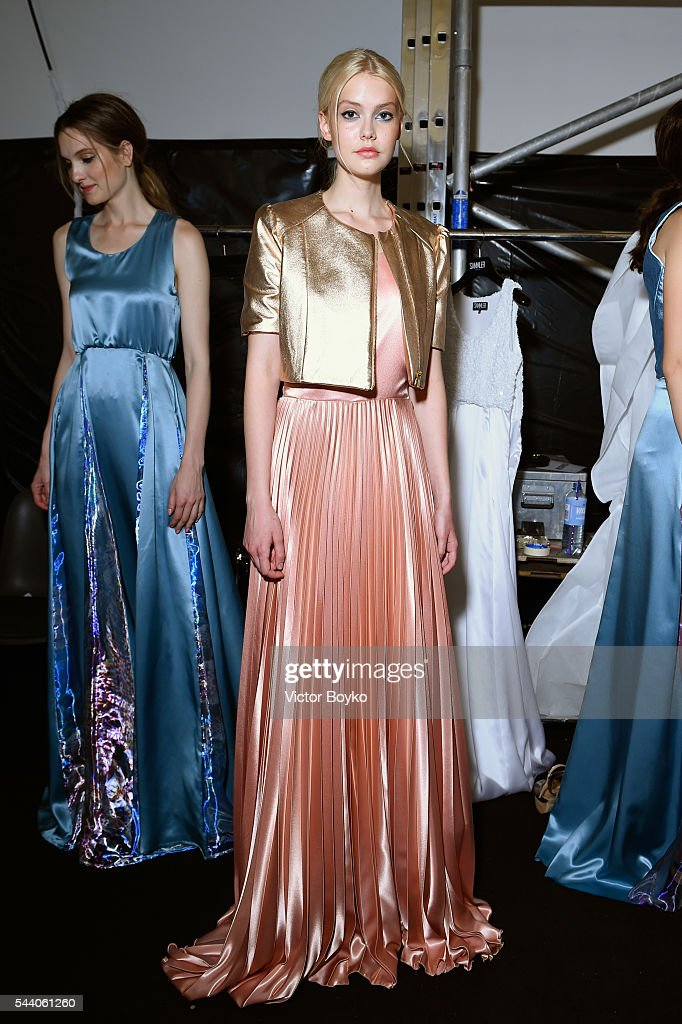Models are seen backstage ahead of the Sammler Berlin show during the Mercedes-Benz Fashion Week Berlin Spring/Summer 2017 at Stage at me Collectors Room on July 1, 2016 in Berlin, Germany.