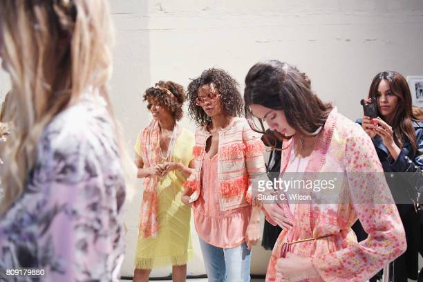 Models are seen backstage ahead of the Sportalm Fashion Show Spring/Summer 2018 at Umspannwerk Kreuzberg on July 5 2017 in Berlin Germany