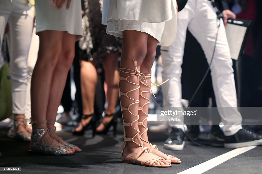 Models (shoe details) are seen backstage ahead of the Sportalm show during the Mercedes-Benz Fashion Week Berlin Spring/Summer 2017 at Erika Hess Eisstadion on June 29, 2016 in Berlin, Germany.