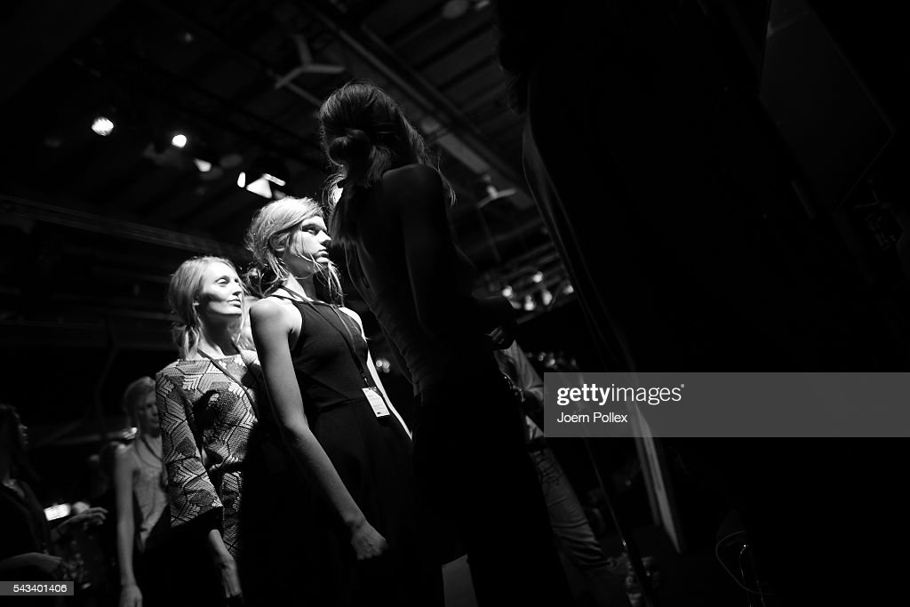 Models are seen backstage ahead of the Steinrohner show during the Mercedes-Benz Fashion Week Berlin Spring/Summer 2017 at Erika Hess Eisstadion on June 28, 2016 in Berlin, Germany.