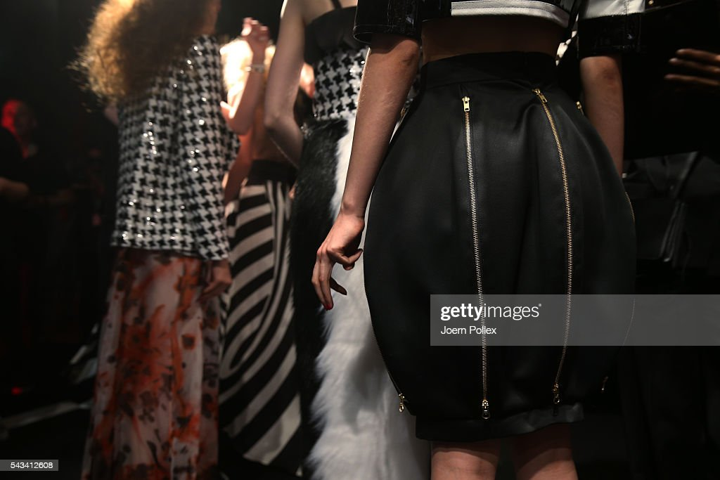 Models (detail) are seen backstage ahead of the Thomas Hanisch show during the Mercedes-Benz Fashion Week Berlin Spring/Summer 2017 at Erika Hess Eisstadion on June 28, 2016 in Berlin, Germany.