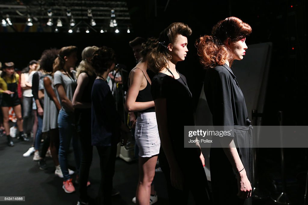 Models are seen backstage ahead of the Thomas Hanisch show during the Mercedes-Benz Fashion Week Berlin Spring/Summer 2017 at Erika Hess Eisstadion on June 28, 2016 in Berlin, Germany.