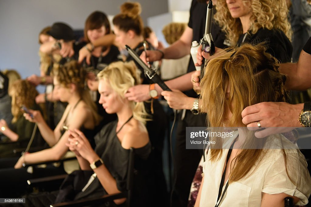 Models are seen backstage ahead of the Tomcsanyi show during the Mercedes-Benz Fashion Week Berlin Spring/Summer 2017 at Stage at me Collectors Room on June 29, 2016 in Berlin, Germany.