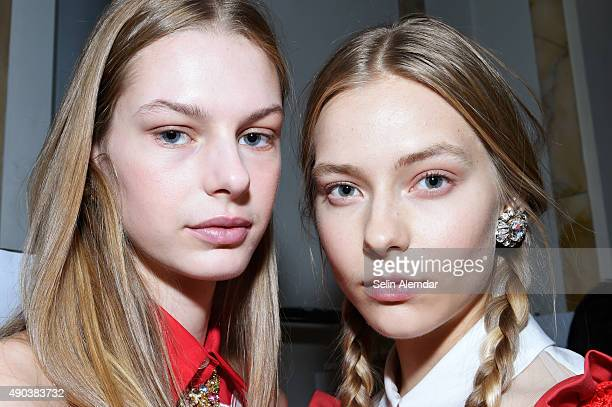 Models are seen backstage ahead of the Vivetta show during Milan Fashion Week Spring/Summer 2016 on September 28 2015 in Milan Italy