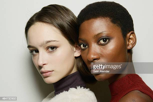 Models are seen backstage ahead of the Vivetta show during the Milan Fashion Week Autumn/Winter 2015 on February 28 2015 in Milan Italy