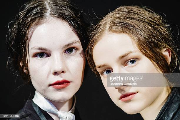Models are seen backstage ahead of the Vladimir Karaleev show during the MercedesBenz Fashion Week Berlin A/W 2017 at Kaufhaus Jandorf on January 19...