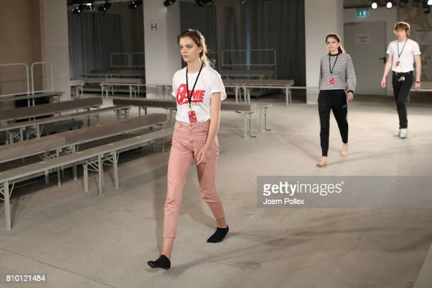 Models are seen backstage ahead of the Vladimir Karaleev show during the MercedesBenz Fashion Week Berlin Spring/Summer 2018 at Kaufhaus Jandorf on...