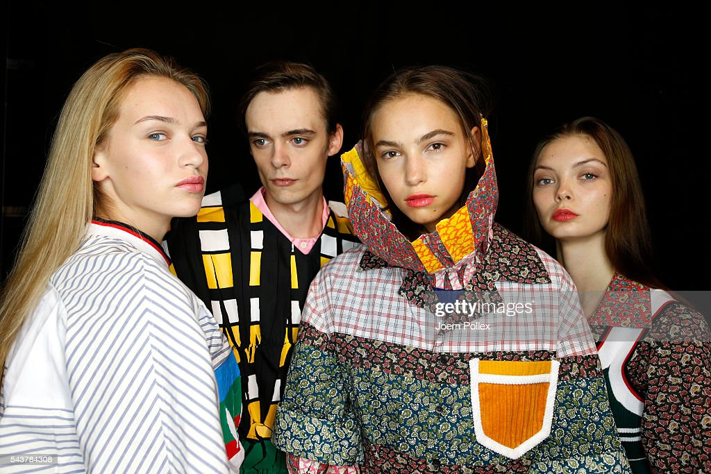 Models are seen backstage ahead of the Wataru Tominaga presented by Mercedes-Benz & Elle show during the Mercedes-Benz Fashion Week Berlin Spring/Summer 2017 at Erika Hess Eisstadion on June 30, 2016 in Berlin, Germany.