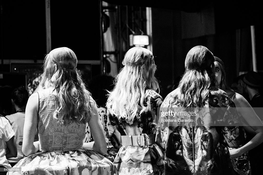 Models are seen backstage ahead the Rebekka Ruetz show during the Mercedes-Benz Fashion Week Berlin Spring/Summer 2017 at Erika Hess Eisstadion on June 29, 2016 in Berlin, Germany.