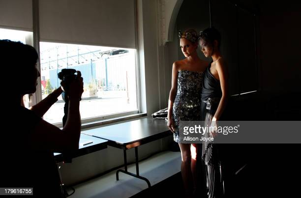 Models are seen backstage at the Fashion Palette Australia fashion show during MercedesBenz Fashion Week Spring 2014 at Pier 59 on September 5 2013...