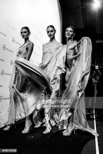 Models are seen backstage at the Hannibal Laguna fashion show during the MercedesBenz Fashion Week Madrid Spring/Summer 2018 at IFEMA on September 18...