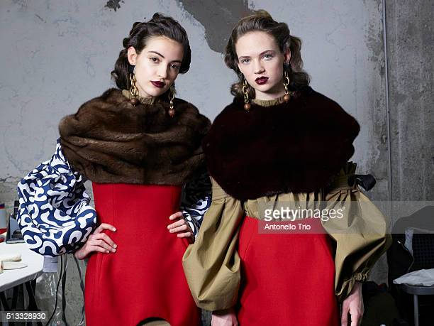 Models are seen backstage at the Marni fashion show during Milan Fashion Week Fall/Winter 2016/2017 on February 28 2016 in Milan Italy