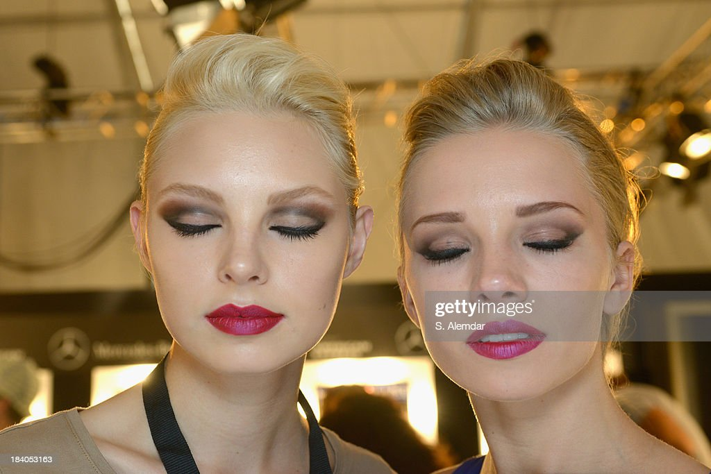 Models are seen backstage at the Odrella show during Mercedes-Benz Fashion Week Istanbul s/s 2014 Presented By American Express on October 11, 2013 in Istanbul, Turkey.